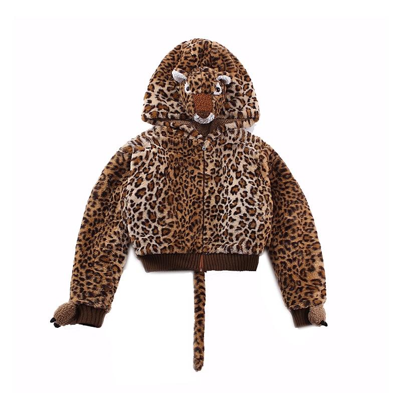 Tissu Le Veste Épaissir Court 2018 Fluffy Cru Filetée Manteau Décor Laine Palais Leopard W Belle Ouverture aUaqwCB