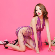 Sexy Underwear Large Size Lace Dew Temptation Pajamas Mesh Gauze Dress Hanging Neck Tassel Set