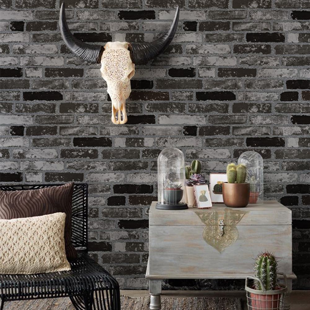 HaokHome Brick 3d Vinyl Wallpaper For Walls Black White Stone Textured Contact Paper Roll