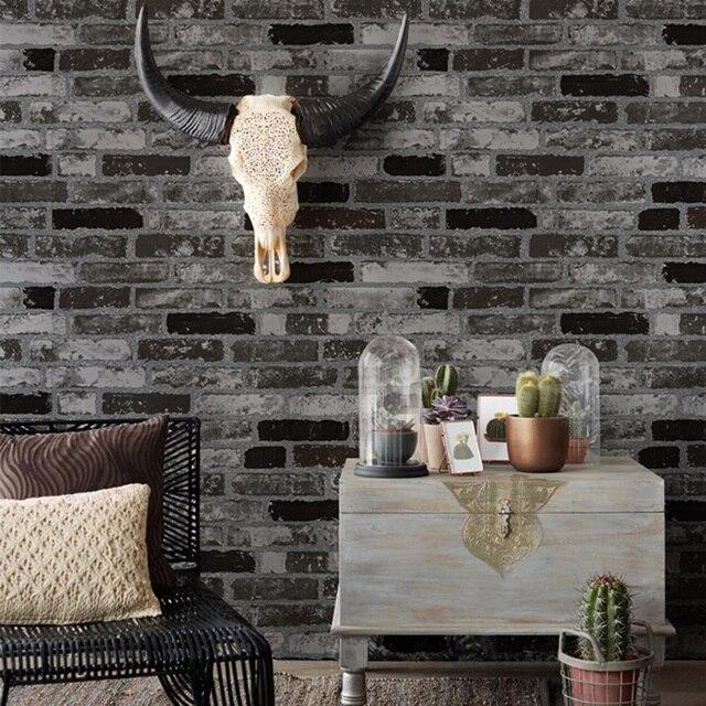 Haokhome Moderne Faux Ziegel Tapete Schwarz/weiß 3d Strukturierte Stein  Papier Rollen Wohnzimmer Schlafzimmer Hause