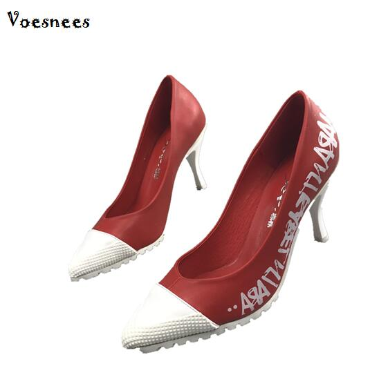Pumps 2 Color Women Shoes European 2018 Spring Korean Version Pointed Shallow Letter Print High heel Ladys Shoes for Office Pumps 2 Color Women Shoes European 2018 Spring Korean Version Pointed Shallow Letter Print High heel Ladys Shoes for Office