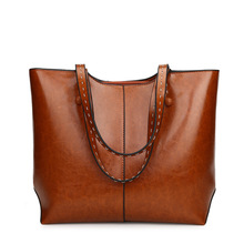 New style retro oil-skinned sloping lady , simple leisure Boston 2019bag