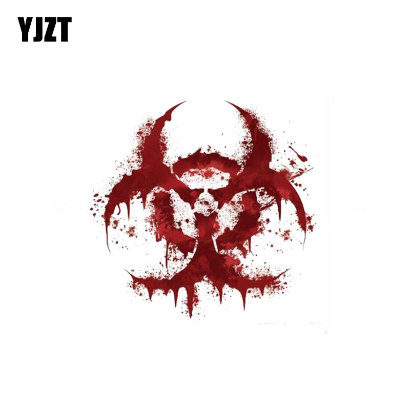 YJZT 11CM*11CM WHITE BLOODY BIOHAZARD V2 Bloody Personality Car Sticker Reflective Motorcycle Parts C1-7158