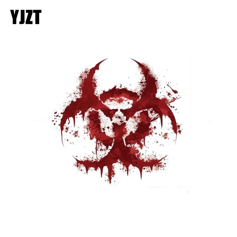 YJZT 11CM * 11CM blanc sanglant BIOHAZARD V2 personnalité sanglante autocollant de voiture réfléchissant moto pièces C1-7158