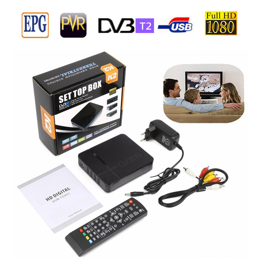 Newest TV box HD K2 DVB T2 Terrestrial Receiver DVB-T2 MPEG-2/4 H.264 Support HDMI Set Top Box K2 PVR TV Tuner ship from Russian