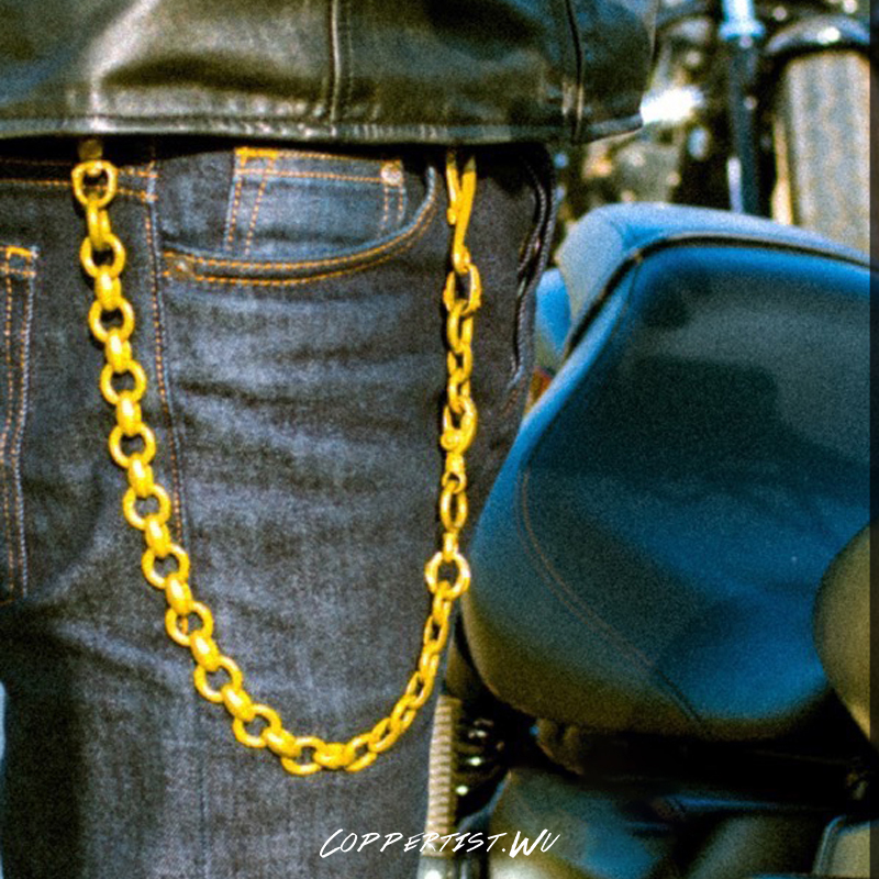 coppertist wu Pattern Long Metal Wallet Belt Chain Rock Punk Trousers Jean Keychain Brass Ring Clip