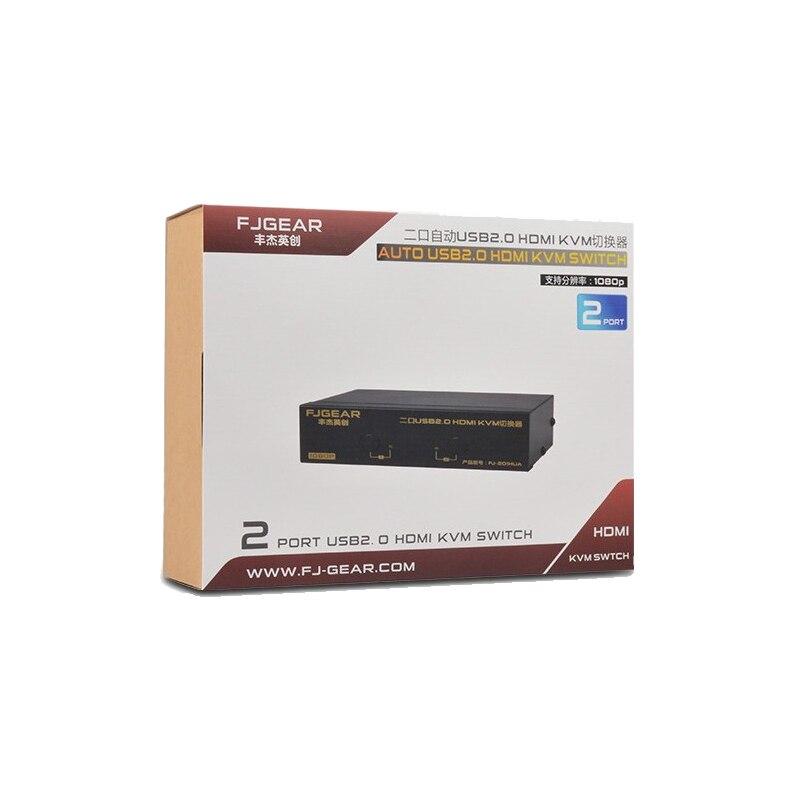 Купить с кэшбэком 2 Port HDMI Switch Auto HDMI KVM sharer USB mouse and keyboard switch 2 in 1 out Support keyboard hot key switch Send cable
