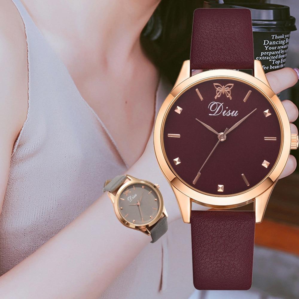 DISU Hot Fashion Butterfly Pattern Printed Dial Watch Luxury Women Leather Belt Watch Clcok Dress Analog Quartz WristWatch #A