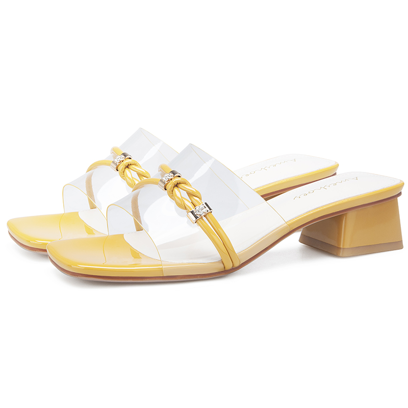 2019 Summer Black White Yellow Women Sandals Block High Heels Mules Femme Shoes 11813ABX2256 in Middle Heels from Shoes
