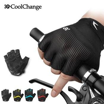 Guantes de ciclismo coolcambio medio dedo a prueba de golpes transpirable GEL bicicleta guantes MTB hombres mujeres deportes antideslizantes bicicleta guantes