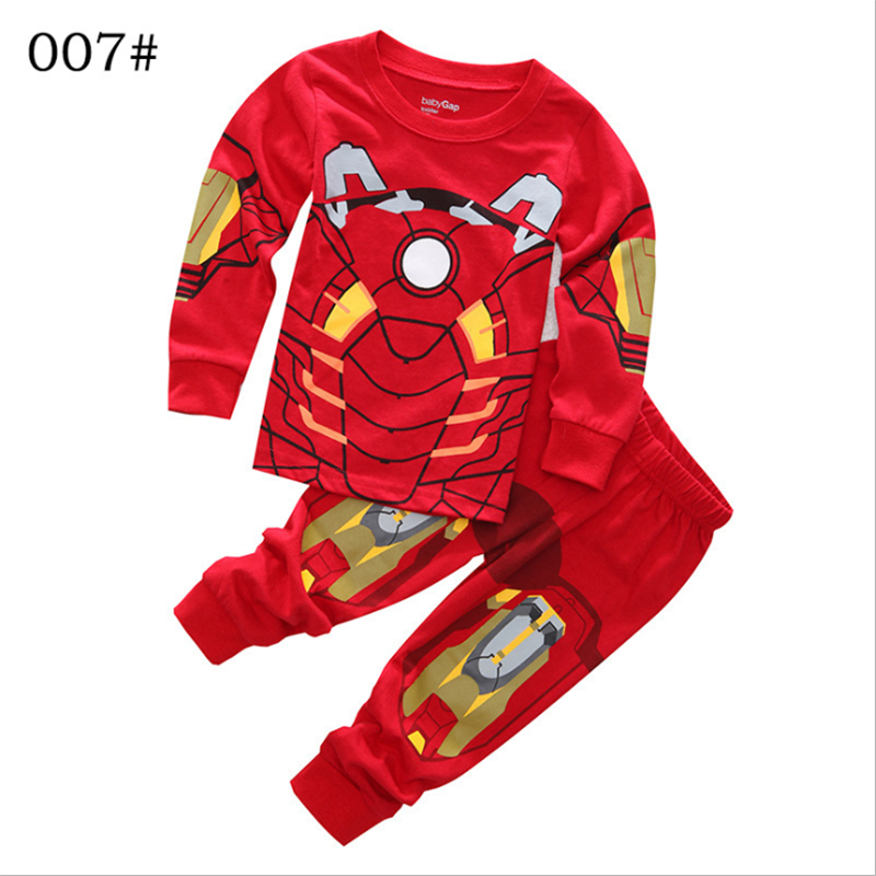 Iron Man Pajamas For Toddler Boys 2-8Y Superhero Cosplay Sleepwear Suit For Children Boys Gifts Ironman 2pcs Clothes Long Sleeve