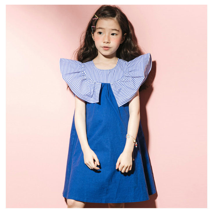 2018 fashion patchwork ruffles dress baby girls dresses for kids summer petal sleeve cotton princess dresses children clothing   (7)