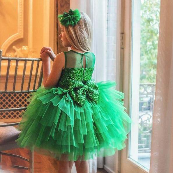 Sparkly green sequins bodice tiered tulle cupcake puffy ruffles girl kids celebration baby 1 year birthday party dress with bow все цены