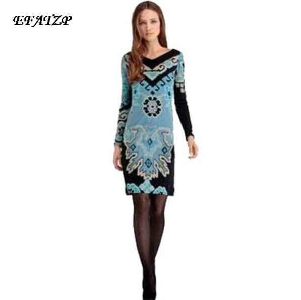 693ea6057ea 2015 Осень люксовых брендов Винтаж Джерси шелковое платье Для женщин с  длинным рукавом синий с геометрическим