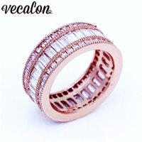 Vecalon Роскошные Для женщин кольцо полный Принцесса cut 15ct 5A Циркон Cz Rose Gold Filled Обручение обручальное кольцо для Для женщин мужские