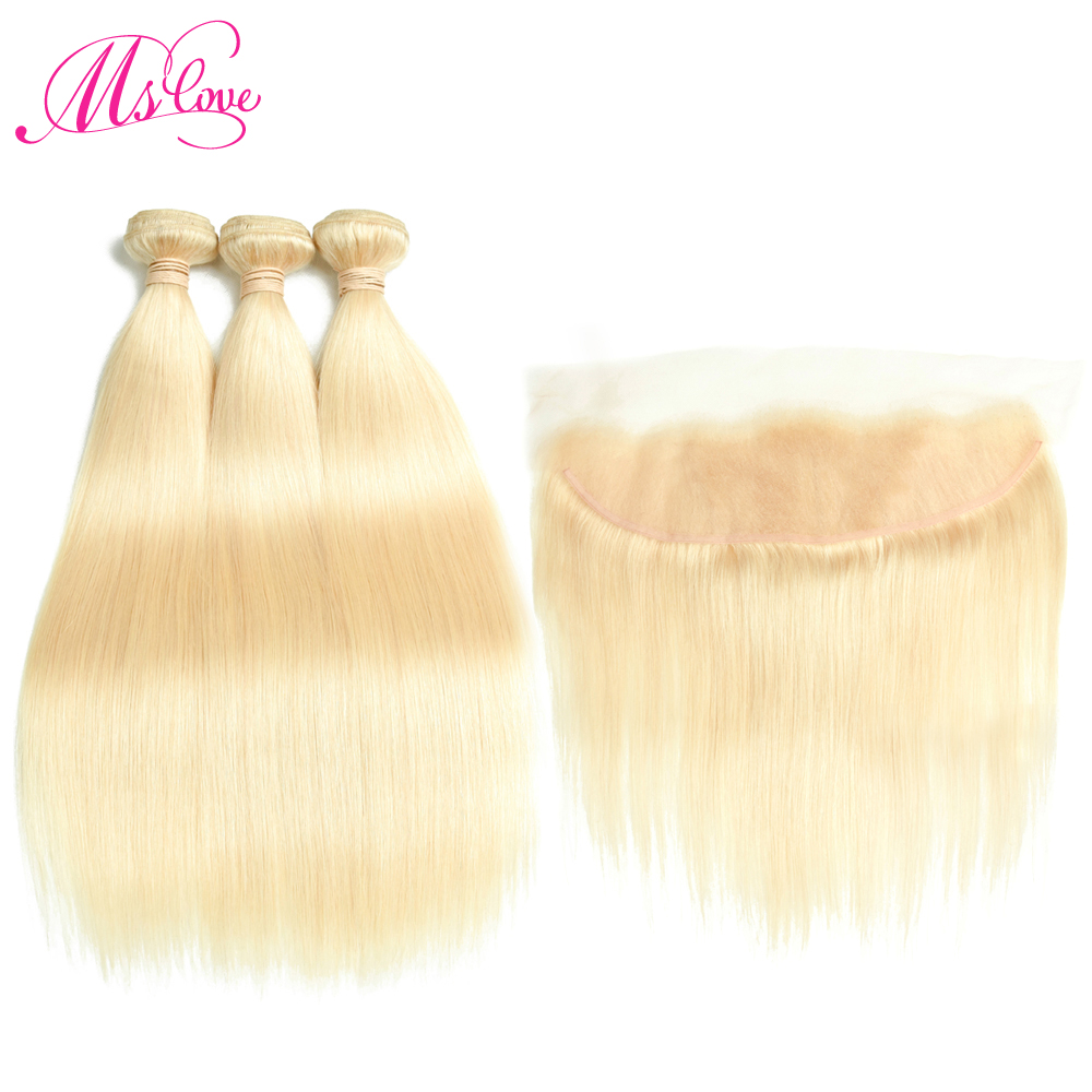 Ms Love 613 Blonde Bundles With Frontal Brazilian Straight Hair With Frontal 13 4 Lace Size