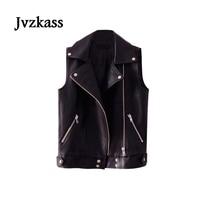 Jvzkass 2018 spring new handsome leather vest women loose locomotive vest pu leather jacket Z132