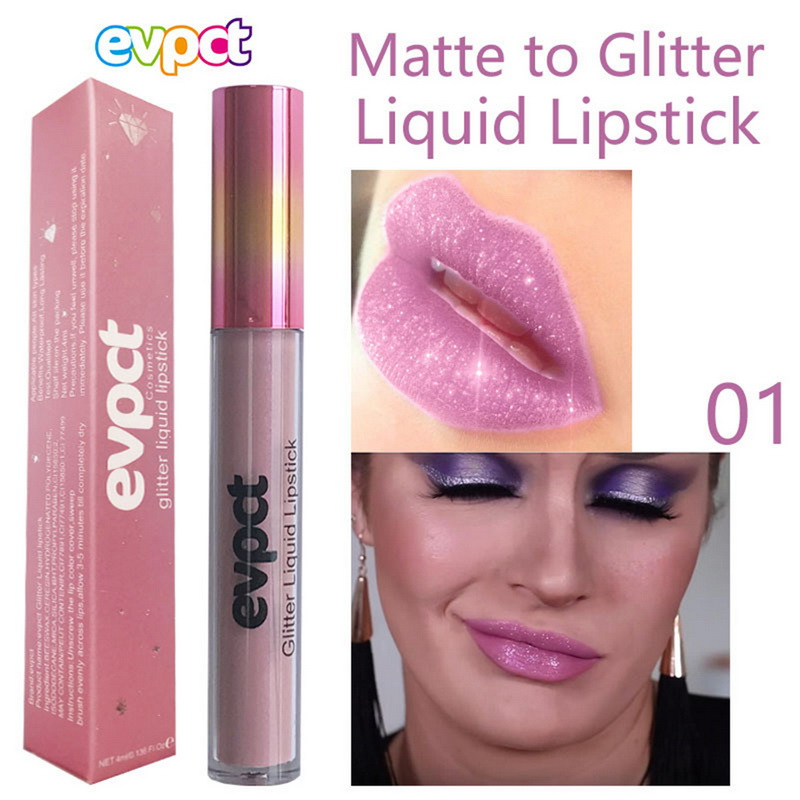 Matte To Glitter Sexy Levre Shiny Lipstick High Pigment Glitter Diamond Liquid Lipgloss Easywear Festival Cosmetics Women Makeup