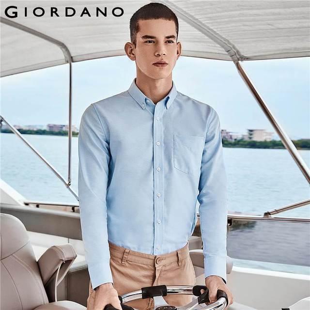 Giordano Homens Camisas Oxford Enrugamento-livre Camisa de Algodão Manga Comprida Casual Slim Fit Camisa Masculina Botão Chemise Sociais Homme
