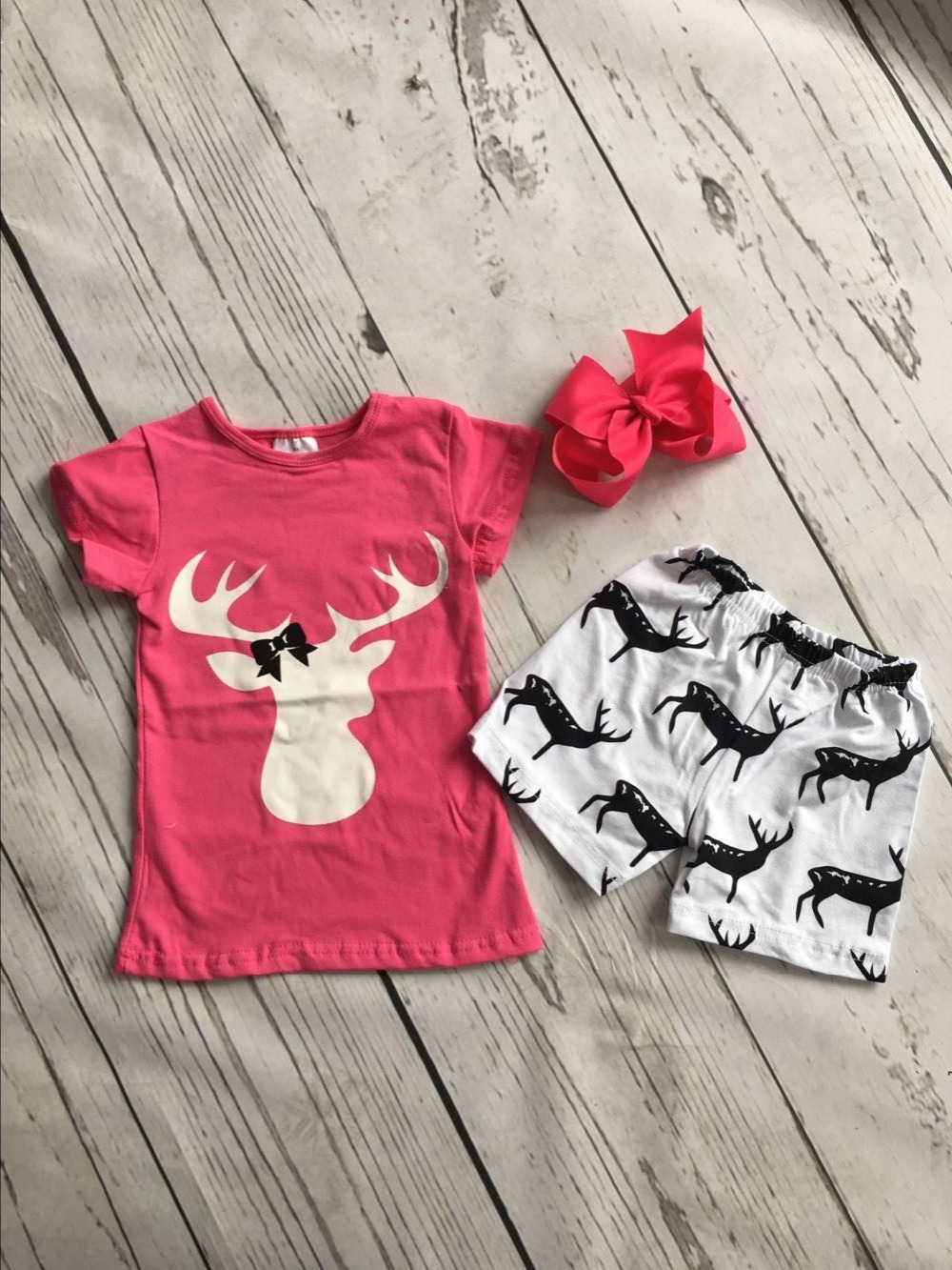 Baby girls casual summer boutique outfits girls reindeer clothing baby girls hot pink top with reindeer shorts outfits with bows hot sale baby outfits coverall casual