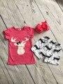 Bebé chicas casual summer boutique trajes niñas ropa baby girls hot pink top con renos renos shorts trajes con arcos