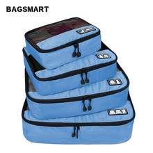 BAGSMART Travel Accessories 4 Set Packing Cubes Clothing Luggage Breathable Lightweight Travel Bags For Shirt Pants Bra Socks(China)