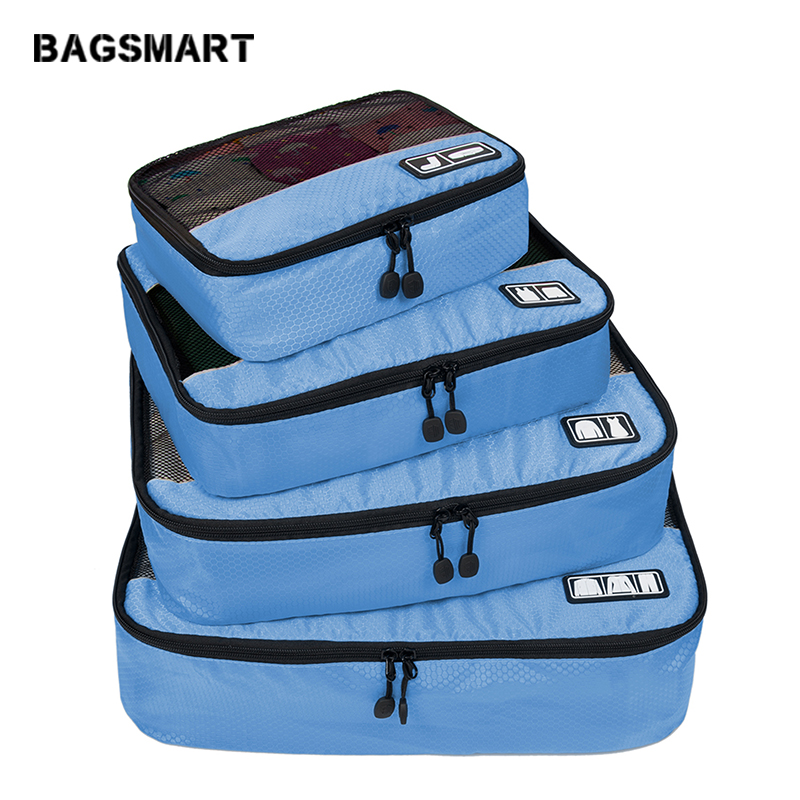 BAGSMART Travel Accessories 4 Set Packing Cubes Clothing Luggage Breathable Lightweight Travel Bags For Shirt Pants Bra Socks