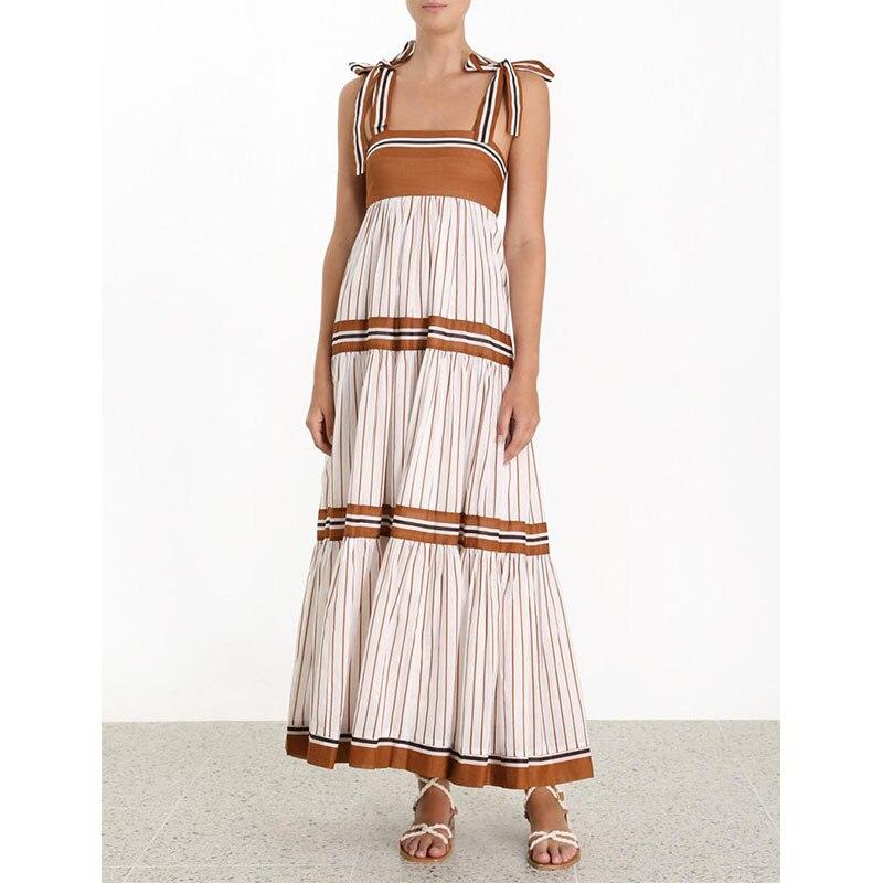Été Designer robe de piste 2019 femmes Sexy bohème Spaghetti sangle rayé plissé longue robe Vestidos
