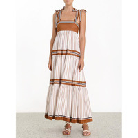 Summer Designer Runway Dress 2019 Women Sexy Bohemian Spaghetti Strap Striped Pleated Long Dress Vestidos
