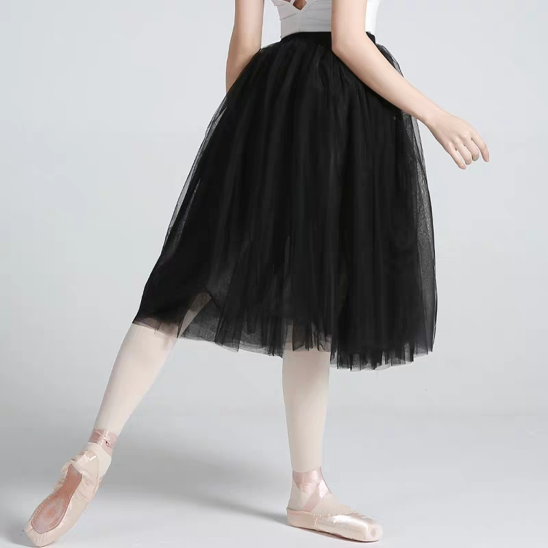 Image 4 - Professional Adults Ballerina Ballet Tutus White Black Pink Red Mesh Lace Long Tutu Elastic Waist Tulle Skirts Women Ball SkirtBallet   -