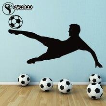 цена на Soccer Ball Football Player Sports Vinyl Wall Sticker Decal Gym Kids Boys Room Stickers