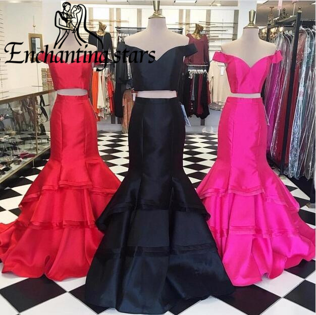 2017 Tiered Satin Mermaid Evening Dresses Deep V-Neck Cap Sleeve Two Piece Women Special Occasion Dress Vestidos Prom Party Gown - Molibridal_ Store store