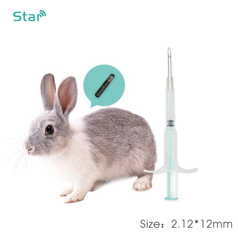 60pcs/lot Mini Pet Microchip Syringe 2.12*12MM 134.2KHz Pet Rfid Syringe ICAR Iso Pet Chip FDX-B Microchip For Dogs Cat Cow Pets