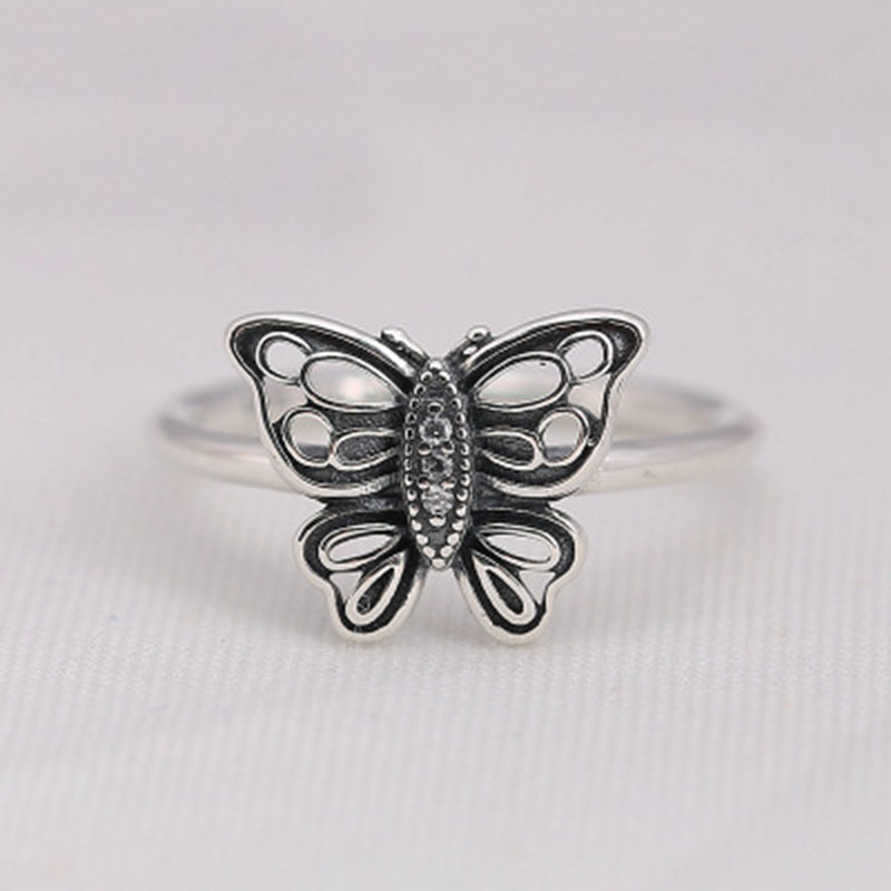 2018 Spring New 925 Sterling Silver Butterfly Wonderland Style Rings Bohemian Midi Finger Jewelry Bague Femme image