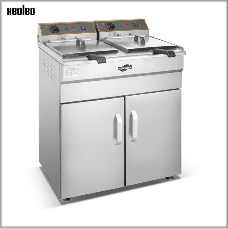 XEOLEO Deep fryer gas Commercial Fryer Vertical Fried French machine Stainless steel restaurant equipment for KFC/MC 48L*2 Картофель фри