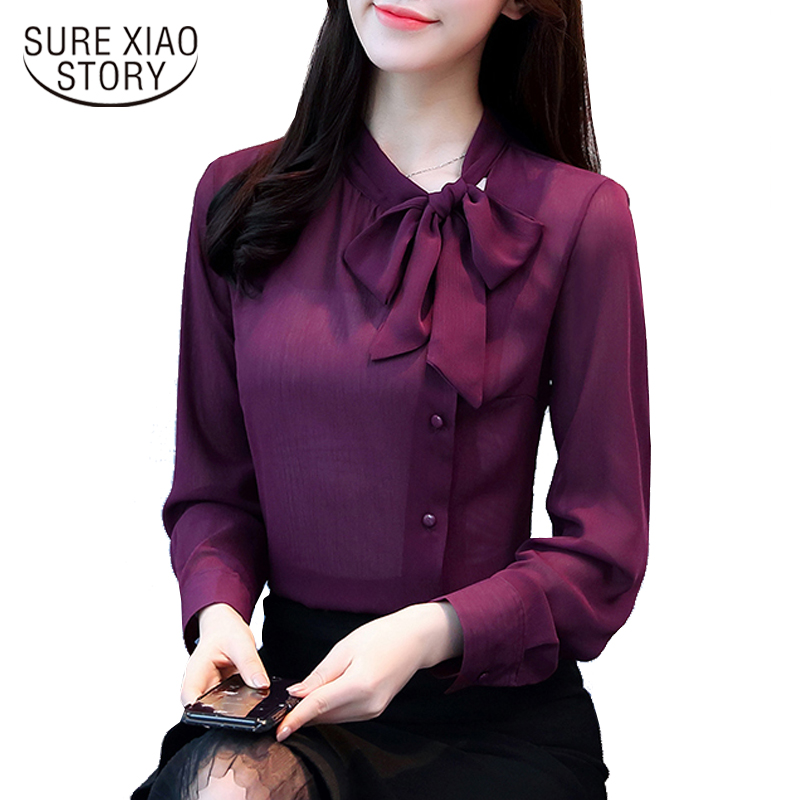 2018 new bow neck women's clothing spring long-sleeved chiffon women blouse shirt solid purple formal women tops blusas D304 30