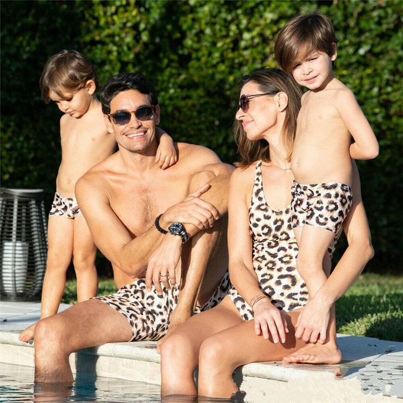 Whole family leopard print swimsuits