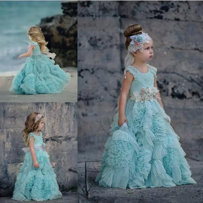 2017 Vintage Ruffles Flower Girls Dresses Jewel Neck Kids Formal Wear Floor Length Girl's Pageant Gown First Communion Dress elegant luxury girls pageant dresses 2018 pearls girls communion dress ball gown kids formal wear flower girls dresses