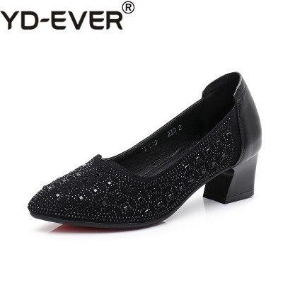 Nero grigio Slip Pompe Tacchi Tacco Modo Zapatos A Yd Donna Punta Quadrato Mujer Med Cuoio Shallow Scarpe Il Genuino ever Donne Del Di on gOqBgw