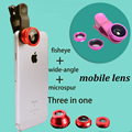 Fisheye Lens 3 in 1 mobile phone clip lenses fish eye wide angle macro camera lens for iphone 7 6s plus 5s xiaomi huawei samsung