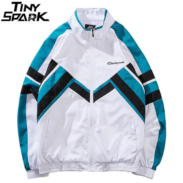Chaqueta rompevientos de bloque de Color Hip Hop para hombre 2018 otoño  Vintage Patchwork chaquetas abrigos 943f09d4e2a