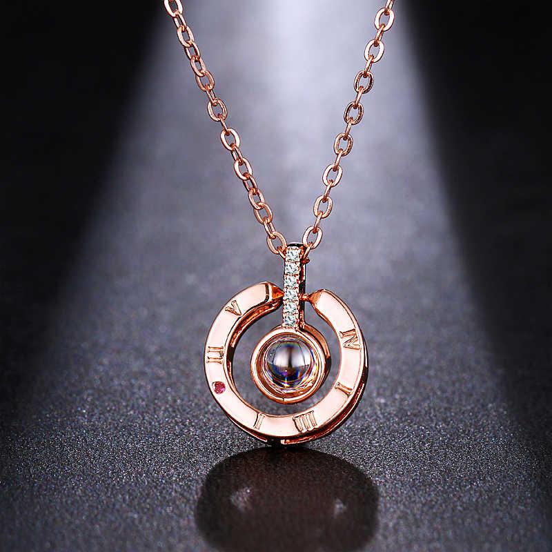 Emmaya marca carta colar 100 línguas eu te amo projeção pingente colar feminino jóias collier femme bijoux presente