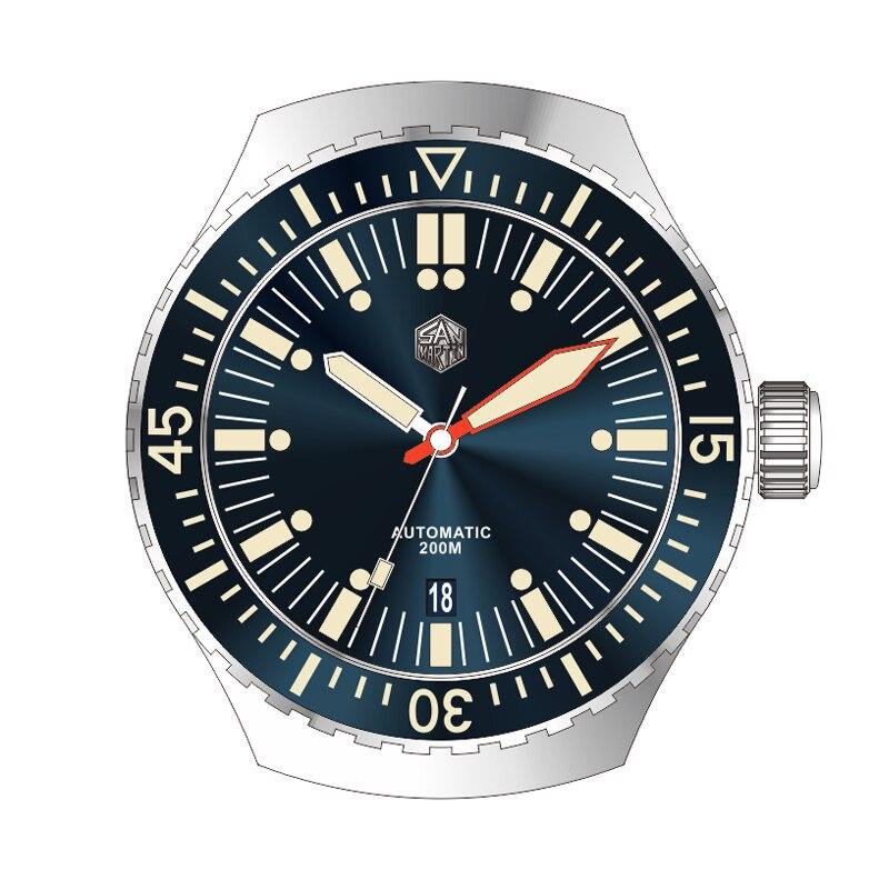 San Martin Nieuwe diver horloges rvs Automatische Horloge Voor Mannen NH35 beweging 200 mWater Slip saffierglas horloge-in Mechanische Horloges van Horloges op  Groep 1