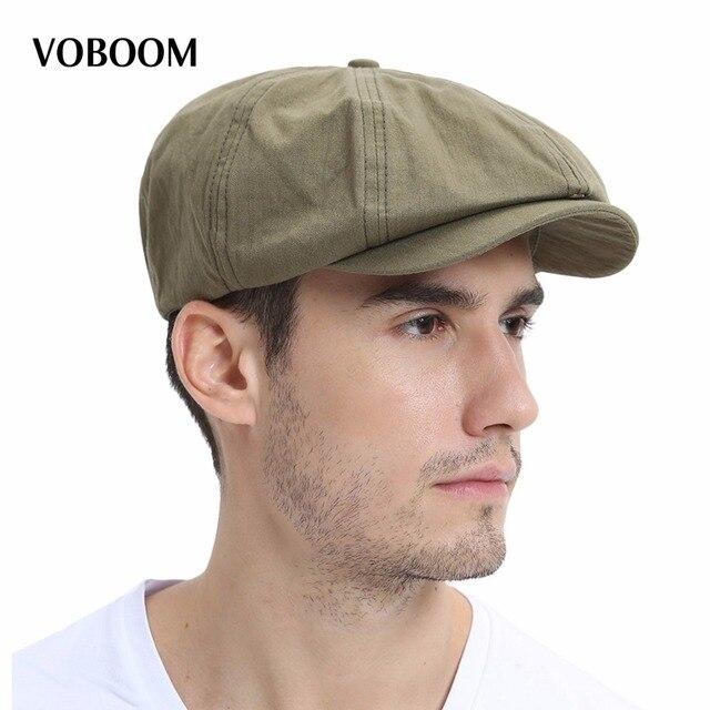 VOBOOM Summer Newsboy Cap Men Women Eight-panel Hat Cotton Baker Boy Caps  Retro Apple Hats 134 e94ac2a8107