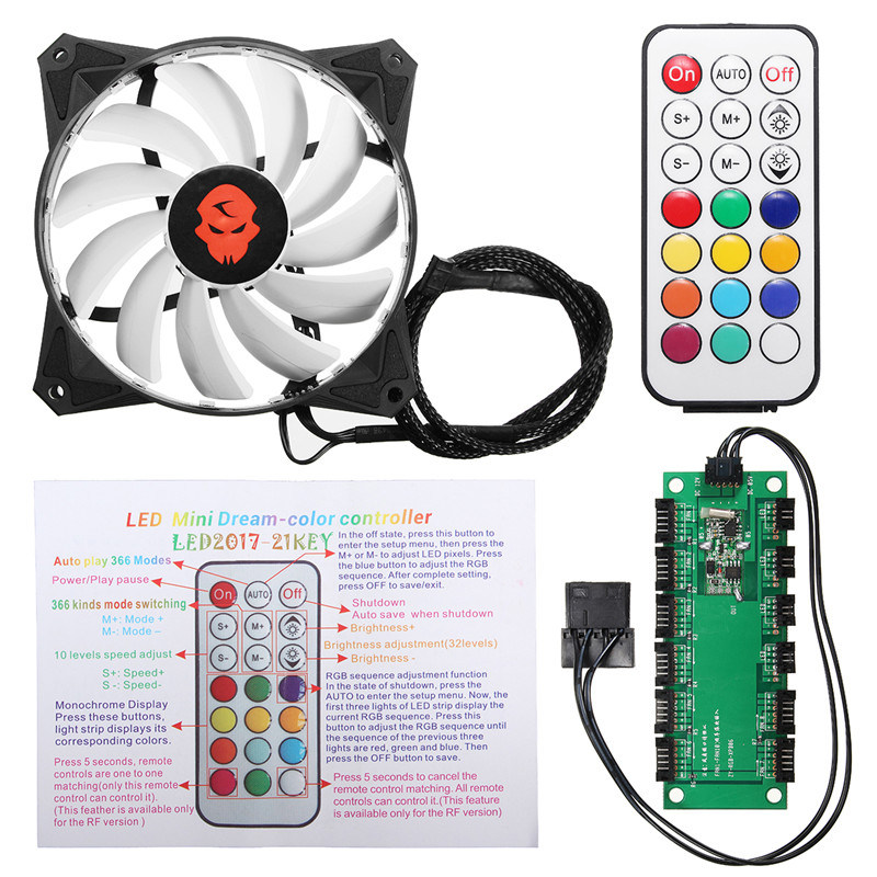 120mm CPU Fan RGB Adjustable LED Cooling Fan 12V Computer Case Radiator Cooling Cooler Fan Heatsink Controller Remote For PC 1 2 5pcs 3 pin cpu 5cm cooler fan heatsinks radiator 50 50 10mm cpu cooling brushless fan ventilador for computer desktop pc 12v