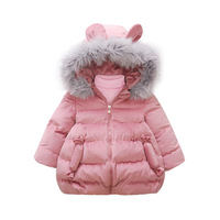 Girls Coat Fashion Cotton Padded Jacket Children Winter zippe Kids Coat Ears Pretty Thick Quilted Fur Collar Jacket Girls