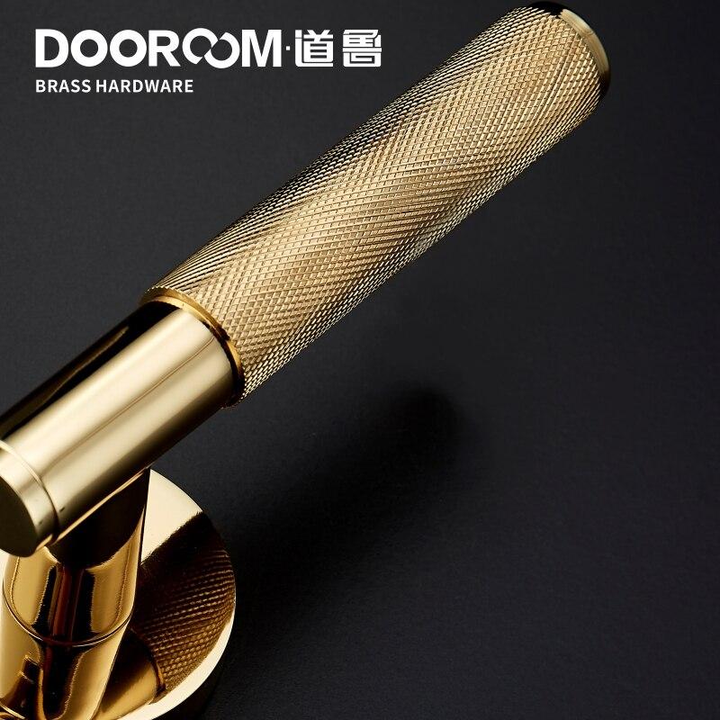 Dooroom laiton serrure de porte levier ensemble exquis croix Knurl européen américain moderne bois intérieur serrure de porte factice fendu poignée bouton - 6