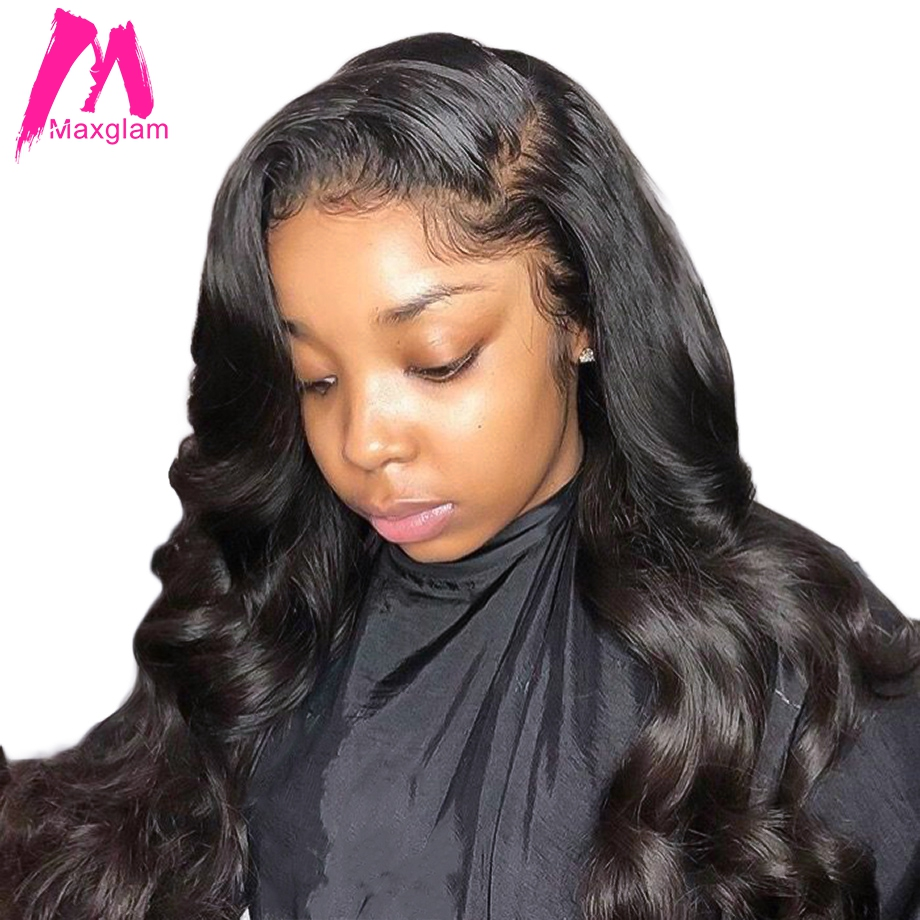 Maxglam loose wave lace front human hair wigs for black women brazilian virgin hair wig pre