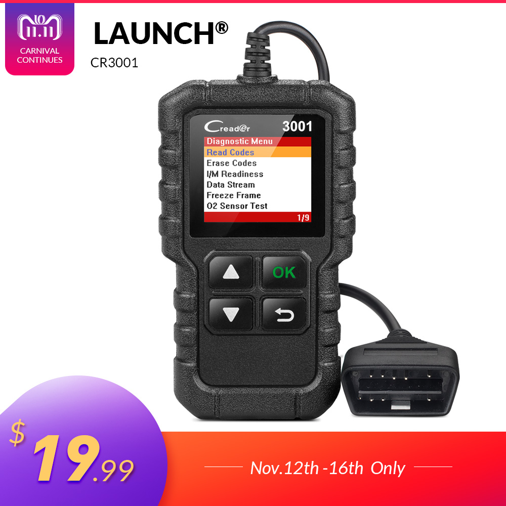 цена LAUNCH X431 Creader 3001 Full OBD2 OBDII Code Reader Scan tools OBD 2 CR3001 Car Diagnostic tool PK AD310 NL100 OM123 Scanner