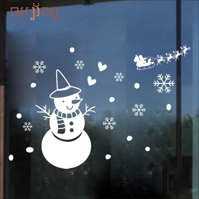 Bianco fiocco di neve buon natale pupazzo di neve vinile - Adesivi finestre natale ...